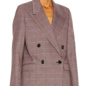 ACNE STUDIOS PLAID DOUBLE BREASTED WOOL COAT XS